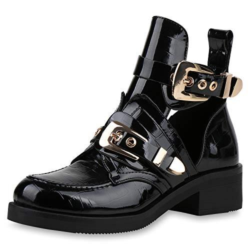SCARPE VITA Damen Ankle Boots Cut Outs Stiefeletten Leder-Optik Schuhe Kurzschaft-Stiefel Schnallen Punk Look 188038 Schwarz Lack Kroko 38