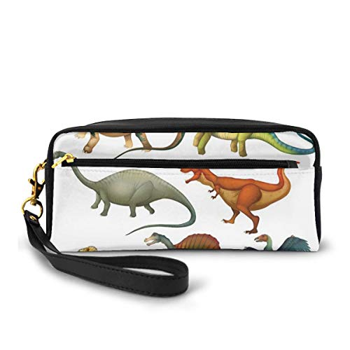 Pencil Case Pen Bag Pouch Stationary,Various Different Ancient Animals from Jurassic Period Cartoon Mammals Pattern,Small Makeup Bag Coin Purse