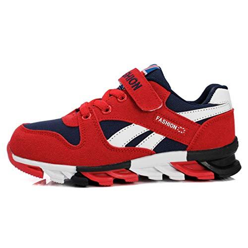 Unpowlink Kinder Schuhe Sportschuhe Ultraleicht Atmungsaktiv Turnschuhe Klettverschluss Low-Top Sneakers Laufen Schuhe Laufschuhe für Mädchen Jungen 28-37, 1833-schwarz Rot-a, 35 EU
