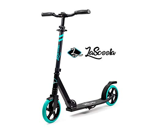 Lascoota Scooters for Kids 8 Years and up - Quick-Release Folding System - Dual Suspension System + Scooter Shoulder Strap 7.9' Big Wheels Great Scooters for Adults and Teens (Grey, Premium Adult)
