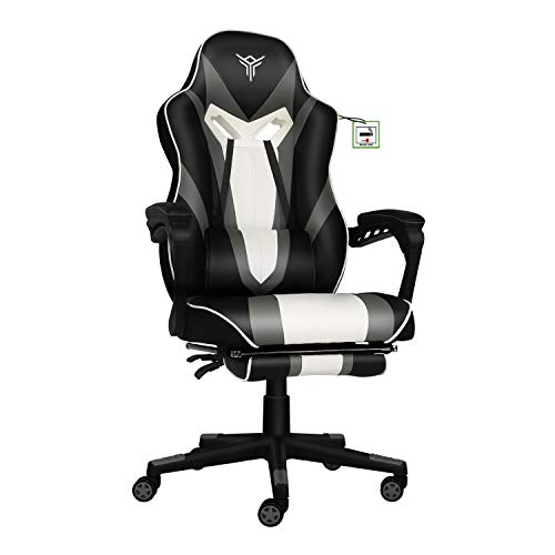 YOURLITEAMZ Ergonomic Racing Gaming Chair with Footrest Comfortable Gaming Office Chair with Back Support Swivel Computer Desk Chairs for Office Home Bedrooms(Black & Grey & White)
