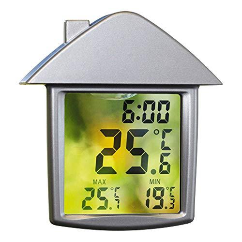 SELVA Digitales Fensterthermometer – Außergewöhnliches Wetterinstrument – Transparentes Display – Min.-/Max.-Funktion – WETTERFEST – Einfache Montage – Maße: 90 x 98 mm – C344901
