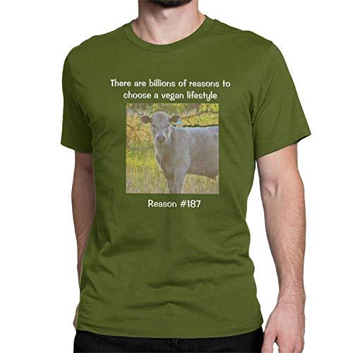 Los mil Millones de Razones para Elegir un Estilo de Vida Vegano Camiseta Divertida Vegano TES de Las Tapas de los Hombres, 3X-Large, Musgo Verde