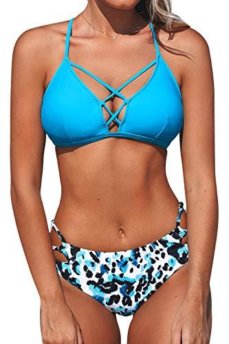 CUPSHE Conjunto de Bikini Estampado Leopardo Traje de Baño de Dos Piezas, XL