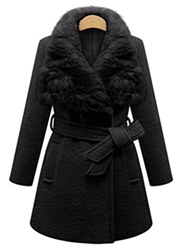 Womens Casual Faux Fur Collar Long Sleeves Tie Waist Bodycon Coats Trenchcoat Black 5XL
