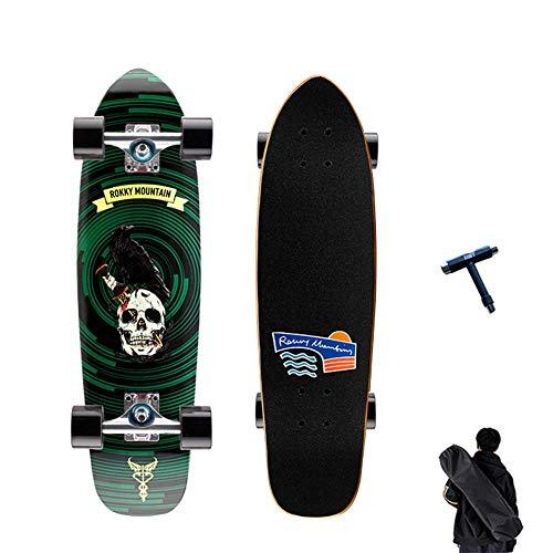 TETHYSUN Tabla de skate completa de 73 x 20 cm, doble patada de 7 capas, madera de arce canadiense para adultos trucos de patinaje, para adolescentes, adultos, principiantes, niñas y niños (color: C)