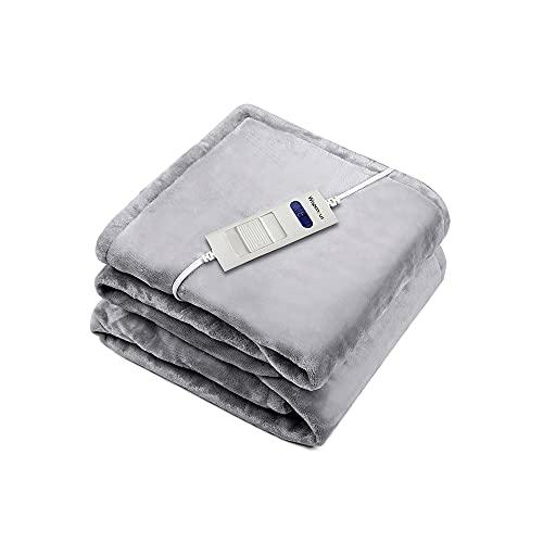 WAPANEUS Heizdecke mit 6 Heizstufen mit Abschaltautomatik,Weiches Plüsch Erhitzt wärmedecke mit Schnellaufheizen und Maschinenwaschbare Stoffe für Sofa Bett 180 x 130 cm Grau