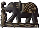 S.B.ARTS Wooden Key Holder-Elephant Design-Black Color Key Hangers-Wooden Key Holder-Wall Key Holders-Key Hook-Home Decor Item-Key Organiser-Antique Look-Vintage Design-Length-4 Hook