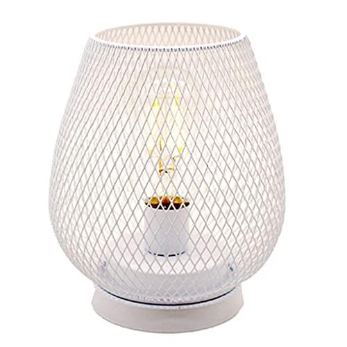 FLAMEER Lámpara de Mesa Decorativa luz de Noche a batería, Estilo Vintage Jaula de pájaros luz en Forma de mesita de Noche Dormitorio decoración de Oficina - Blanco