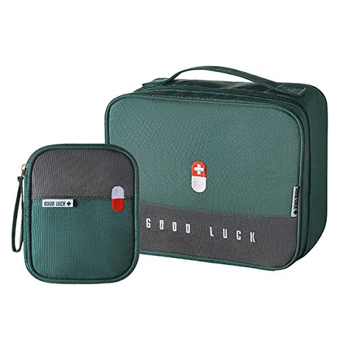 paerma Empty First Aid Bags Travel Medical Supplies Cosmetic Organizer Insulated Medicine Bag Convenient Safety Kit Suit for Family Outdoors Hiking Camping Car Office Workplace,Green(Mom Son Bag)