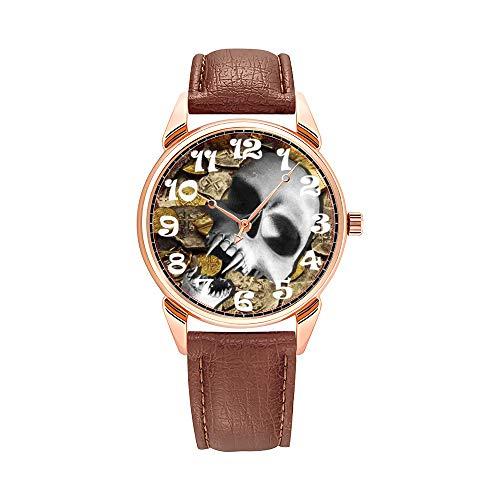 Reloj de pulsera para hombre, de cuarzo, resistente al agua, brillante, de piel marrón, con diseño de calavera pirata y dinero