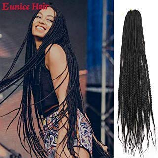 Eunice 6Packs 30 inch Box Braids Crochet Hair Pre looped Synthetic Hair Extensions 3S Box Braids Black Braiding Hair Long Dreadlocks for Women (#1B)