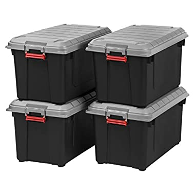 IRIS USA, Inc. SIA-760D 82 Quart Weathertight Storage Box, Store-It-All Utility Tote, Blak/Gray/Red