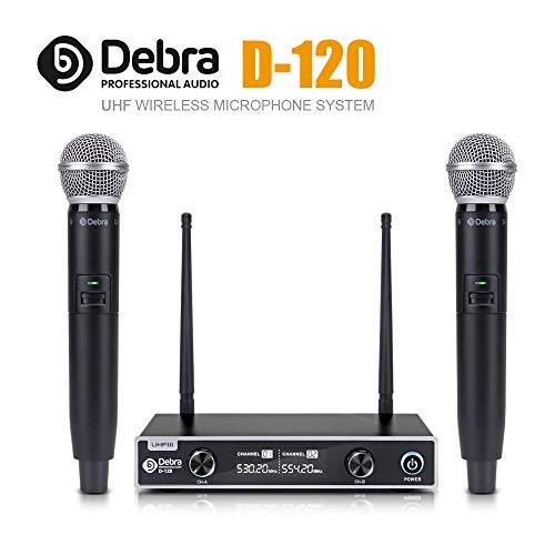 Debra auido PRO D-120 Dual Channel Wireless Microphone System Microphones with Handheld Lavalier Headset Mics for Outdoor Wedding, Conference, Karaoke,Music, Party (with 2 Handheld)