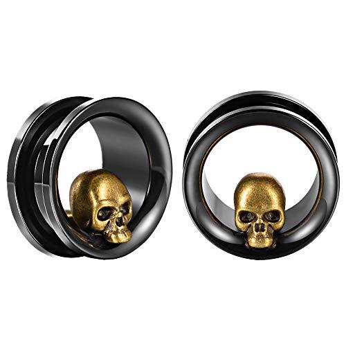 COOEAR 1 par de pendientes de acero inoxidable con dilatadores de oreja, túneles de oreja, dilatadores de calavera.