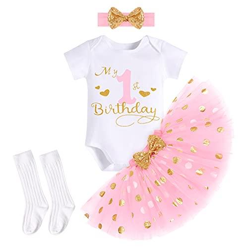FYMNSI Baby Mädchen Mein 1. Erster Geburtstag Party Outfit Baumwolle Kurzarm Body Strampler Prinzessin Gepunktet Tütü Rock Pailletten Schleife Stirnband Socken 4tlg Bekleidungsset Rosa 1 Jahr