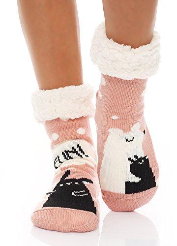 Matyfashion Hüttensocken Hausschuhe Socken Hüttenschuhe ABS/Teddy BF 00267 (One Size (35-42), Altrosa)