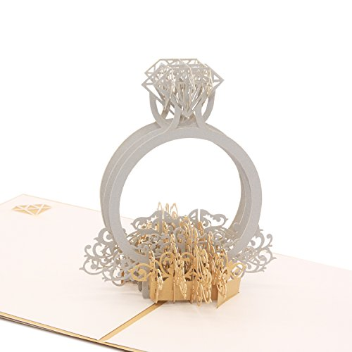 3D Pop Up Anniversary Card - Diamond is The Unbreakable Jewel of Love - for Valentines Day Wedding Invitation Card I Love You (Diamond Ring)