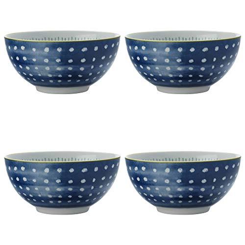Maxwell Williams 5251644 Laguna Lot de 4 bols en porcelaine Bleu/blanc 10 cm, Porcelaine, Dessert Bowls (15 cm)