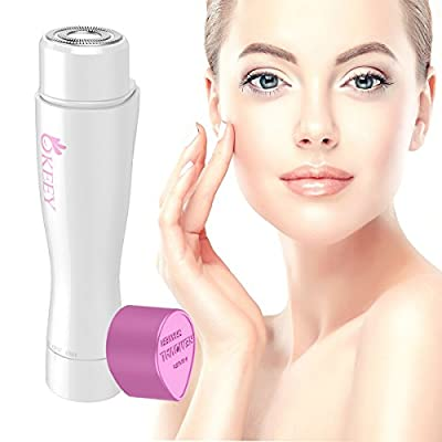 Facial Hair Remover for Women - OKEEY Painless Facial Hair Removal Built-in LED Light Ladies Shaver for Lip Body Chin and Cheek Fuzz Hair by OKEEY