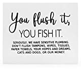 "Decorae Sensitive Septic System Wooden Sign, Plumbing Warning ""You Flush It, You Fish It"" Bathroom Toilet Paper Only Sign 10 x 8 Inch"