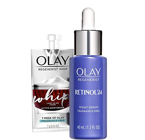 Olay Regenerist Retinol Face Serum, Retinol 24 Night Face Serum, 1.3oz + Whip Face Moisturizer Travel/Trial Gift Set