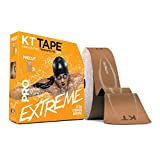 KT Tape PRO Extreme Therapeutic Elastic Kinesiology Sports Tape, 125 feet 150 Pre Cut 10 X 2 Inch I-Strips, 100% Synthetic, Water Resistant, Breathable, Professional & Olympic Choice (Titan Tan)