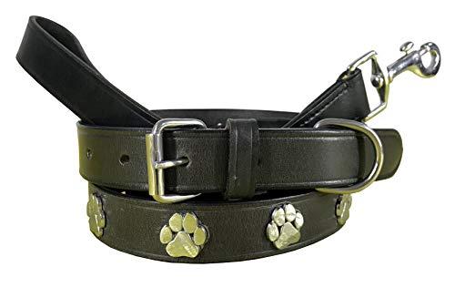 BRADLEY CROMPTON Carlos Diaz Zusammengehöriges Set Aus Gewachstem, Besticktem Polo-Hundehalsband Und Hundeleine, Echtes Leder L