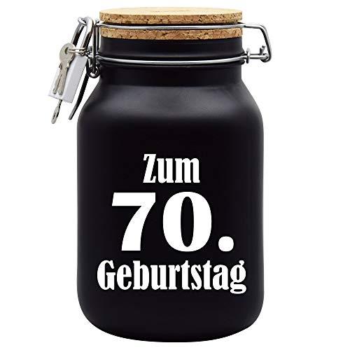 Salvadanaio per il 70° compleanno, idea regalo, colore nero, XL