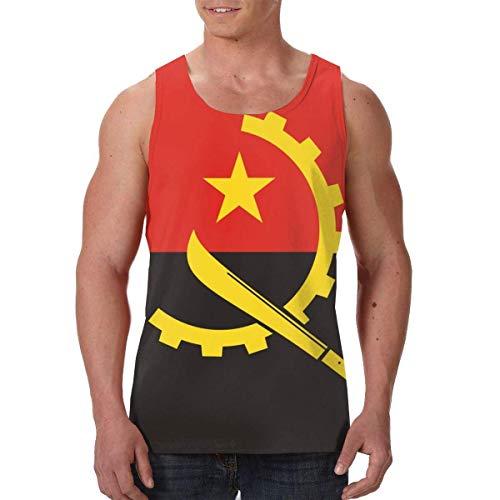 Camiseta de algodón para Hombre Homme Stringer Gym Tank Top Shirt Print Flag of Angola Men's Stylish Jersey Bodybuilding Sport Vest