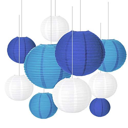 Papier Laterne, SEELOK 20Stk Blau Papier Laterne Rund Chinesisches Papierlaternen zum Hängen Dekorationen Lampenschirm für Wohnkultur Familien Party Garten Hochzeit Raumdeko(4 Größ)