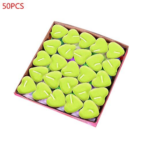Eliky - Juego de 50 velas de té, diseño de corazón verde
