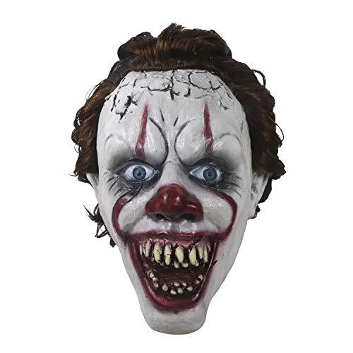 Máscara de payaso de arriba de horror, accesorios de decoración espeluznante de fiesta de disfraces de Halloween