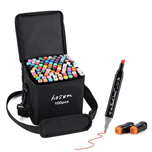 hosum マーカーペン イラストマーカー 100色 セット 水彩ペン 2種類のペン先 太字 細字 油性コミック用 塗り絵、描画、落書き、学習用の カラーペンセット