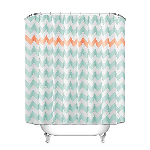 Greesuitシャワーカーテンカーテンリング付け防水防カビ加工不透明間仕切り180*180cm青+オレンジ