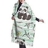 27'x77 Chal de envoltura grande Panda lindo bebé con bambú Vector Patter sin...