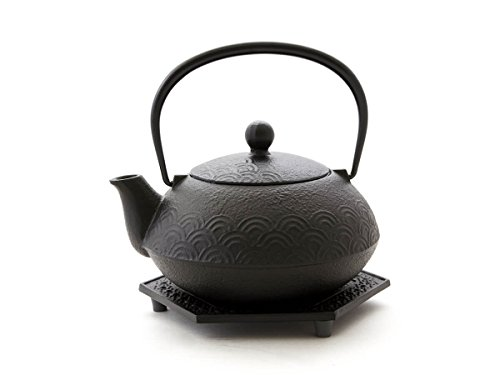 Japanische Teekanne UND Wasserkessel, Kombi-Modell NAMI AOMI von IWACHU, schwarz, 0,65 l, mit Untersetzer und Edelstahl-Sieb. Elektro- und Gasherd geeignet
