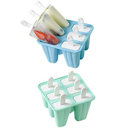 Helistar Popsicle Molds with Sticks 12 Pieces Silicone Ice Pop Molds Popsicle Mold Reusable Easy Release Ice Pop Maker, Blue Green