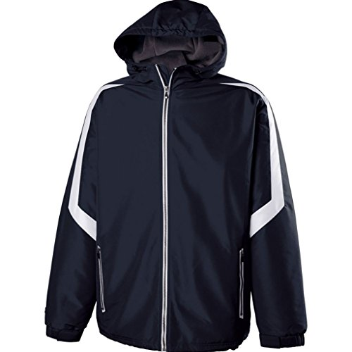 Holloway Youth Charger Jacket (Large, Navy/White)