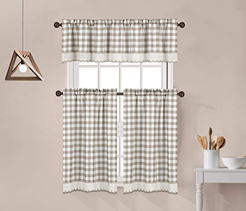 """Decotex 3 Piece Buffalo Check Plaid Gingham Crochet Lace Trimmed Kitchen Window Curtain Tiers & Valance Set (24"""" Tiers with 14"""" Valance, Taupe/Beige)"""