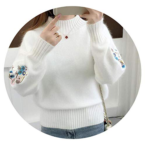sensitives Winter Thick Warm Beautiful Embroidery Turtleneck Sweater Women Long Sleeve Knit Pullover Sweater,White,S