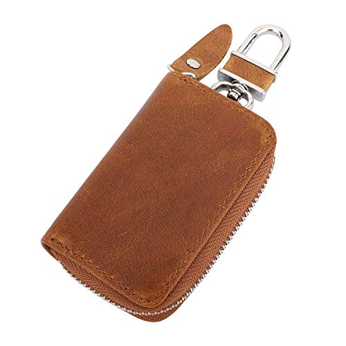 Unisex Keychain With Durable Carabiner And Strong Ring Brown Stylish Key Holder For Organized Home Car Keys Stainless Steel And Zinc Alloy Keyring Holder Key Chain By Vital Hot: Genuine Leather