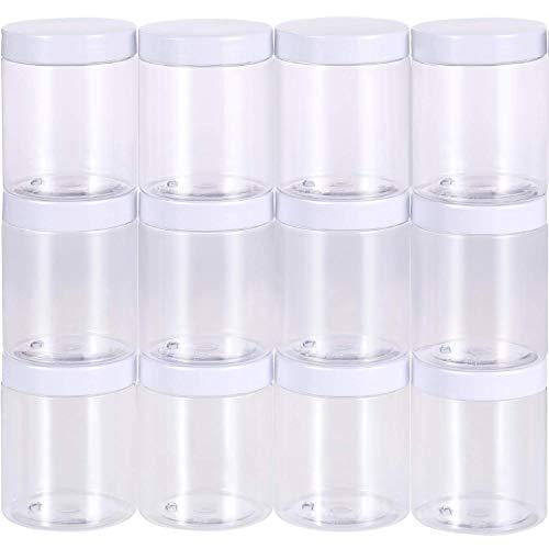 Sunnysam 12 Pack Bote de Plástico Transparente Vacío Contenedor de Almacenamiento de Limo Envase de Boca Ancha con Tapas para Productos de Belleza, DIY Fabricación de Limo u Otro