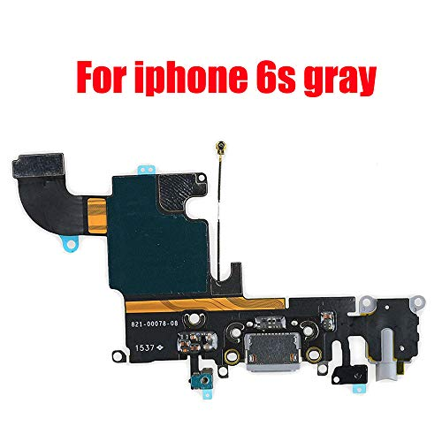 Afeax Compatible with OEM Original USB Charging Port Dock Connector Flex Cable + Microphone + Headphone Audio Jack Replacement Part for iPhone 6S 4.7 Gray