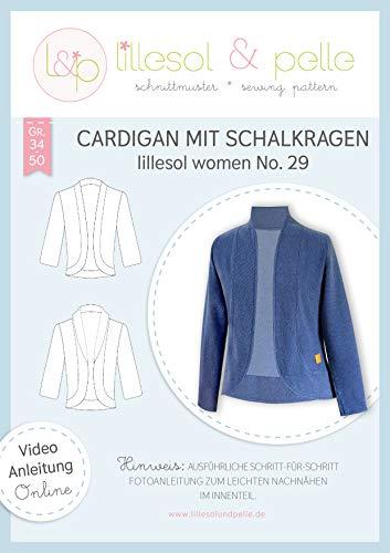 lillesol & pelle Schnittmuster lillesol Women No.29 Cardigan mit Schalkragen in Größe 34-50 zum Nähen mit Foto-Anleitung und Video