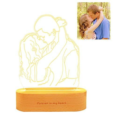 Personifiziertes 16 Nachtlicht-kundenspezifisches Foto-Bluetooth-Musik-Licht der Farben-3D Bestes Geburtstags-Weihnachtsgeschenk(Holz 250mm*170mm)