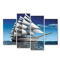 chenjiaxu 現代の海の帆船の帆布の絵画はキャンバスの 壁の写真に印刷されています 装飾画-30x60cmx230x80cmx2フレームなし