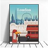 Zhaoyangeng Póster De Viaje En Lienzo De Viaje A Londres, Imágenes Artísticas De Pared Para La Decoración Del Hogar De La Sala De Estar, 50X70 Cm Sin Marco