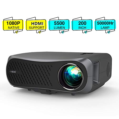 2020 Full HD 1080P Video Projectors LCD 1920x1080 Resolution,Dual HDMI USB VGA AV Audio,LED 5500 Lumens Native 1080P Proyector Zoom for Home Cinema Theater Gaming Outdoor Movie DVD TV Laptop PC Phones