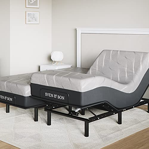 "Sven & Son Split King Essential Adjustable Bed Base Frame + 12"" Luxury Cool Gel Memory Foam Mattress, Wireless, 5 Minute Assembly, Head & Foot Articulation (Split King + 12' Mattress)"